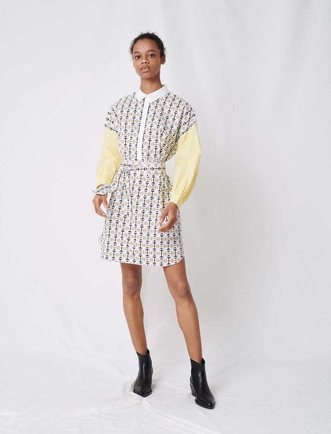 Printed cotton shirt dress - Dresses - MAJE