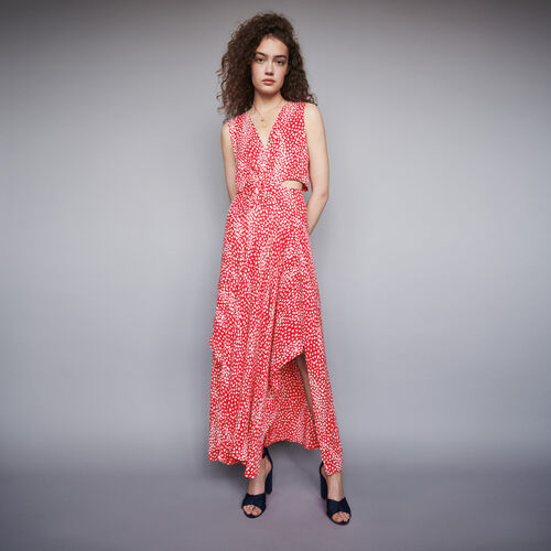 Jacquard-printed long knotted dress : Winter collection color Red