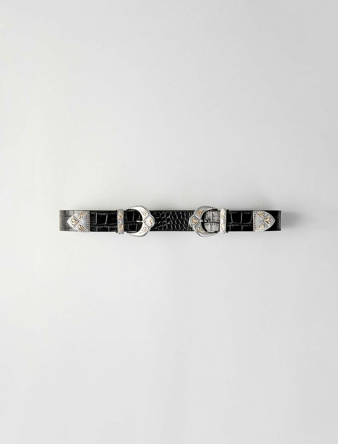 Double scalloped buckle leather belt -  - MAJE
