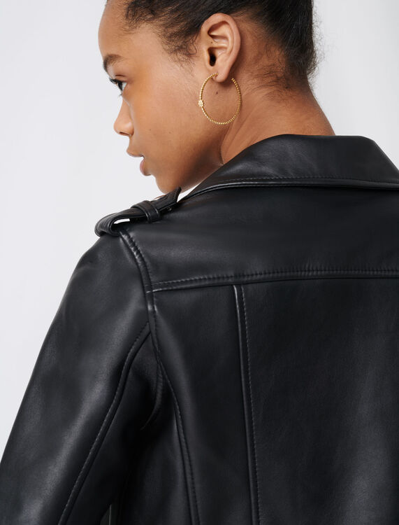 Leather biker jacket : Coats & Jackets color Black