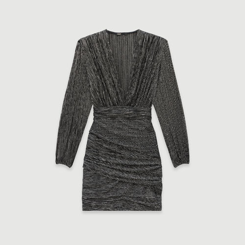 Lurex draped dress : Winter collection color Silver