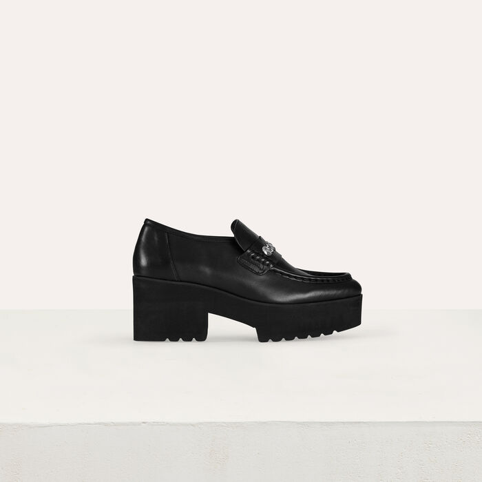 Platform loafers in leather and studs : Flat shoes color Black 210