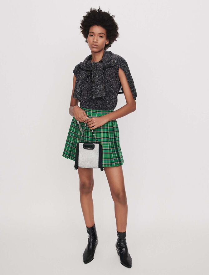Pleated plaid trompe-l'oeil shorts - SoldesFR_Jupes_shorts - MAJE