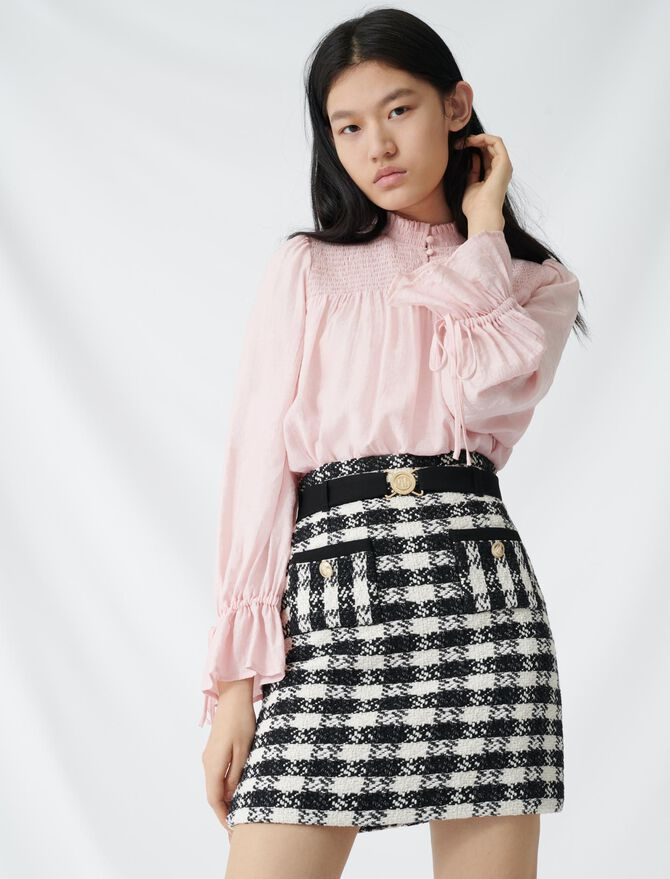 Tweed-style skirt with monogrammed belt -  - MAJE