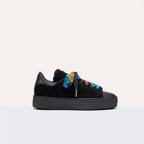Dual-material leather trainers : Accessoires color Black 210