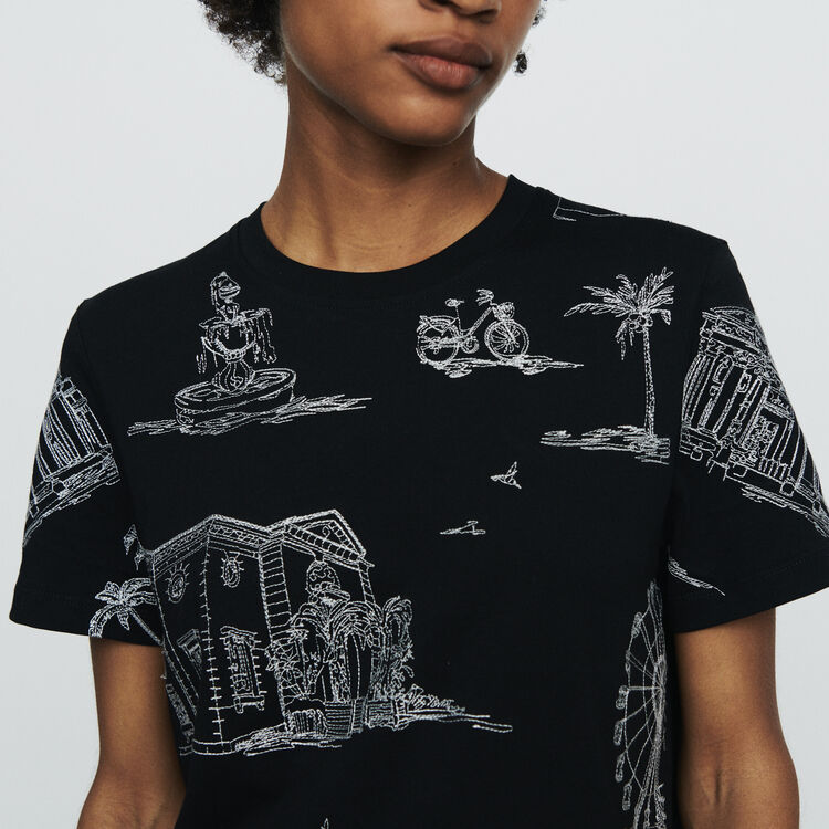 T-shirt with Paris embroidery : T-Shirts color Black