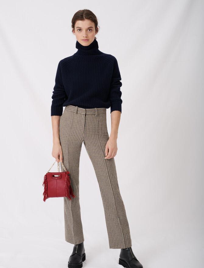 Pantalon droit à carreaux - null - MAJE