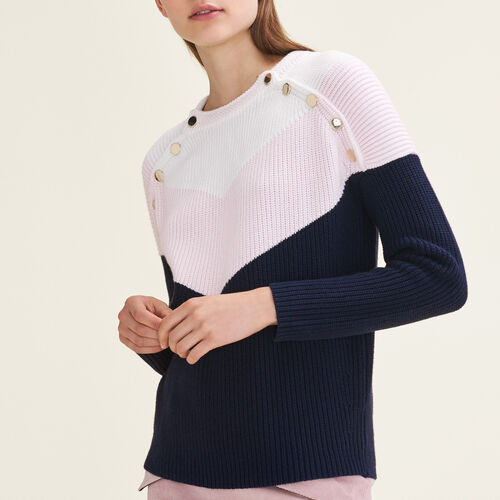 Tricolour jumper with press studs : Fall Winter Collection color GREEN