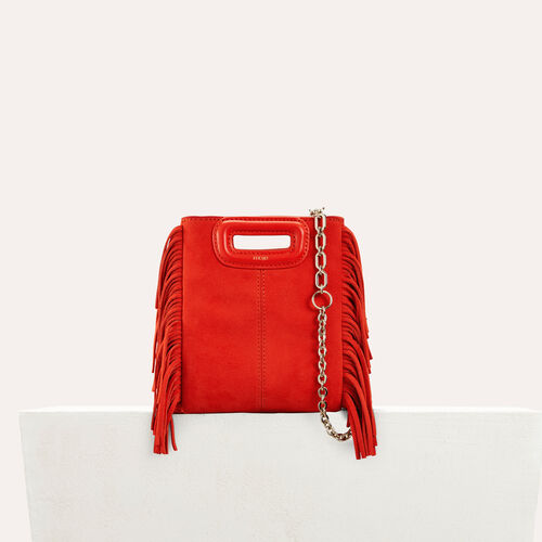 Fringed suede M minibag : null color Red