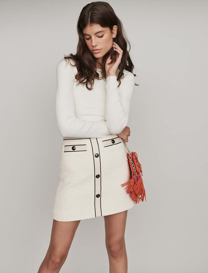 Tweed-style contrast pencil skirt - -30% - MAJE