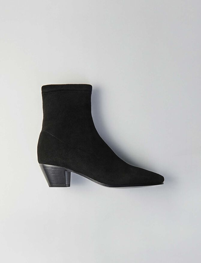 Stretch velvet goat leather booties -  - MAJE