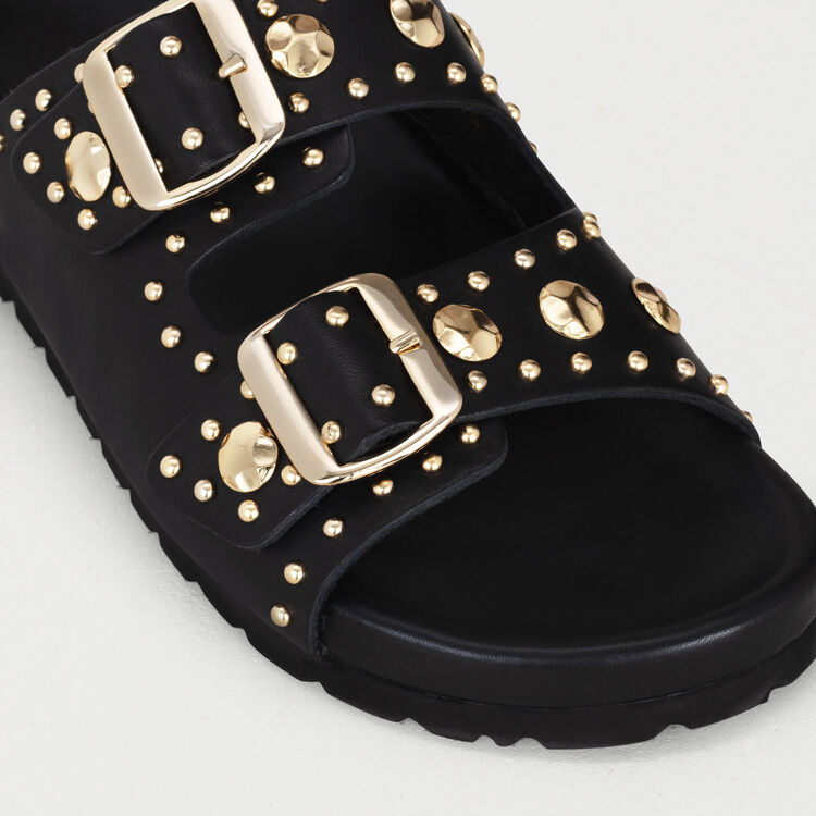 601c58c21 FEELSTUDL Leather sandals decorated with studs - Flat shoes - Maje.com
