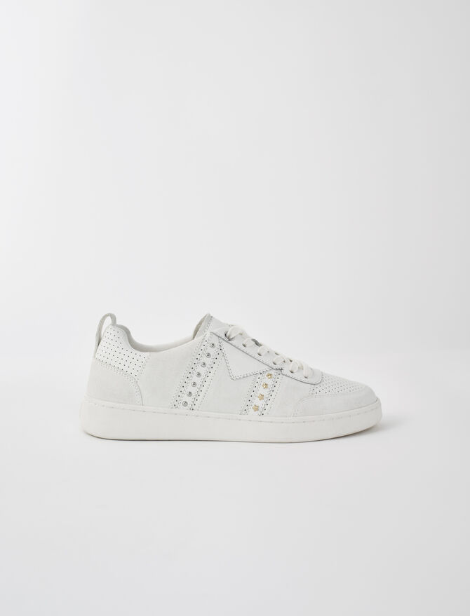 Baskets cuir blanches studées - Chaussures_Toutvoir - MAJE
