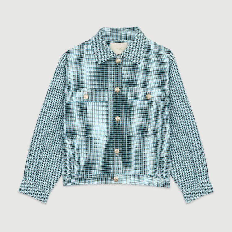 Tweed-style biker jacket : Jackets color Blue