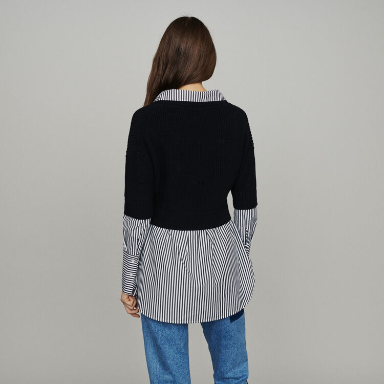 Trompe-l'œil effect cropped sweater : Pullovers & Cardigans color Black 210