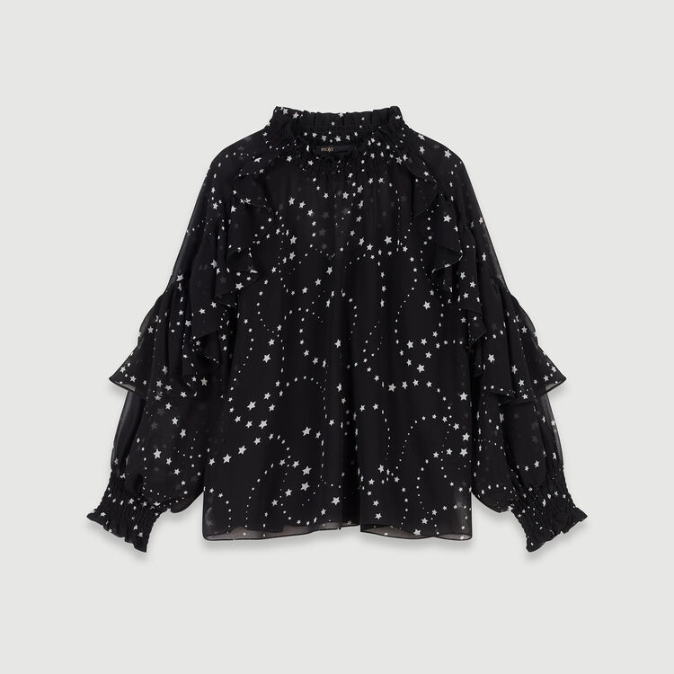 Printed-muslin ruffled top : Tops & Shirts color Black