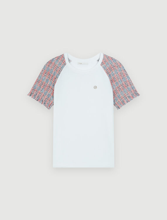 Jersey T-shirt with tweed sleeves - Tops & Shirts - MAJE