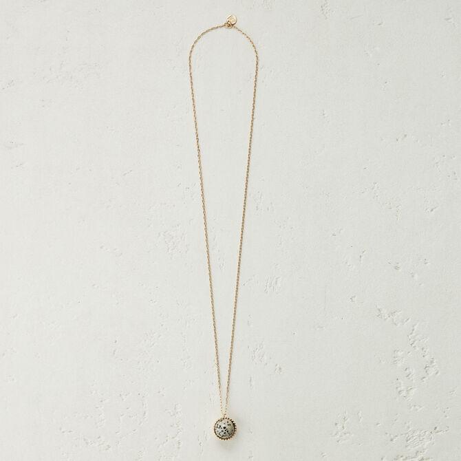 Collier long avec pendentif en pierre - null - MAJE