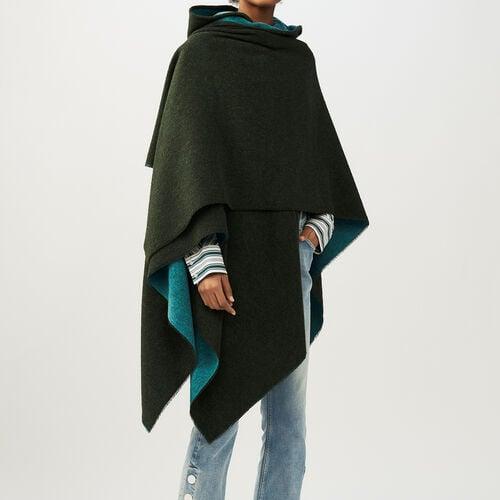 Reversible hooded poncho : Scarves color Khaki