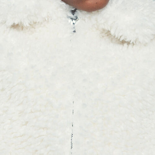 Cropped faux shearling jacket : Jackets color White