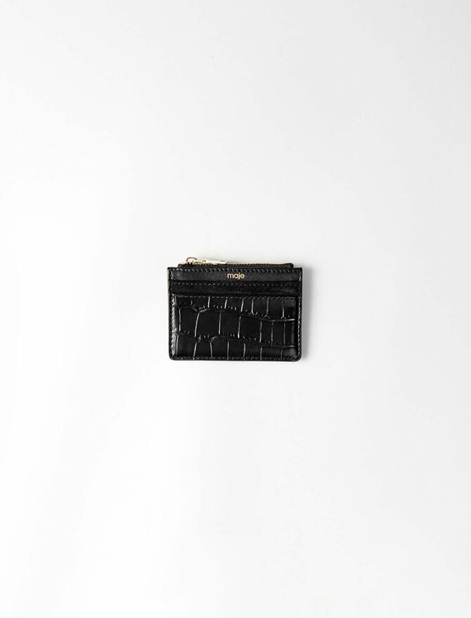 Porte-cartes zippé en cuir embossé - Petite_maroquinerie - MAJE