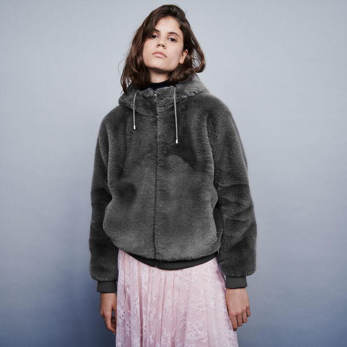 Hooded faux fur jacket : Coats & Jackets color Grey