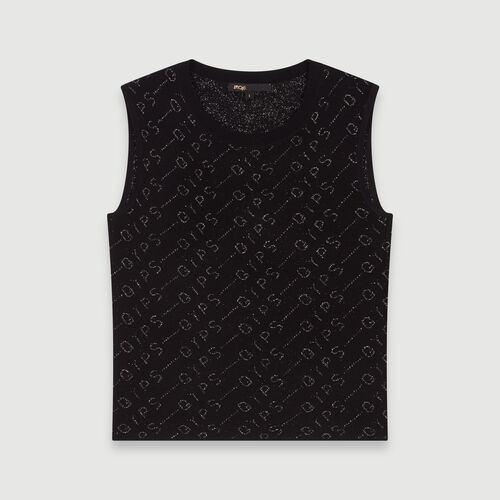 Lurex jacquard sleeveless sweater : Pullovers & Cardigans color Black