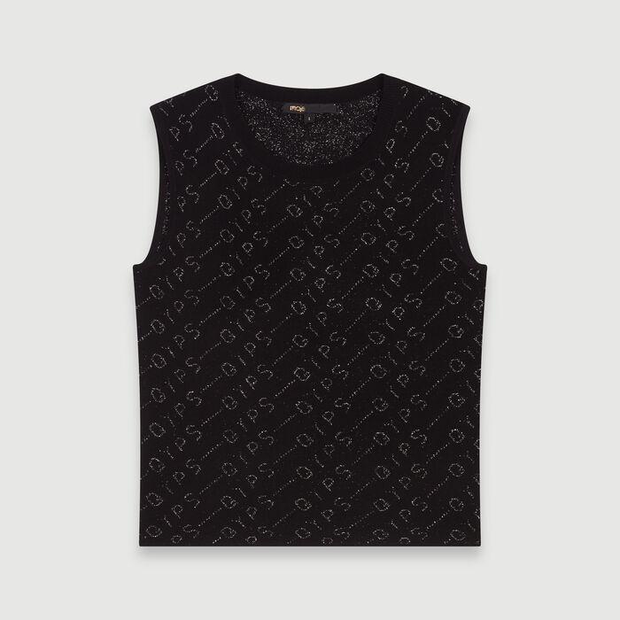 Lurex jacquard sleeveless sweater : Pullovers & Cardigans color Black