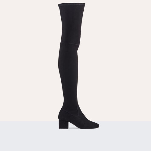 Flat suede calfskin thigh boots : Shoes color Black 210