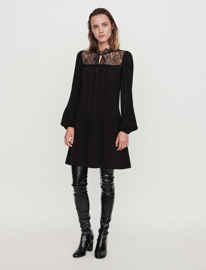 Pleated lace dress - Dresses - MAJE