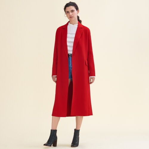 Long double-sided wool coat : Coats color Red