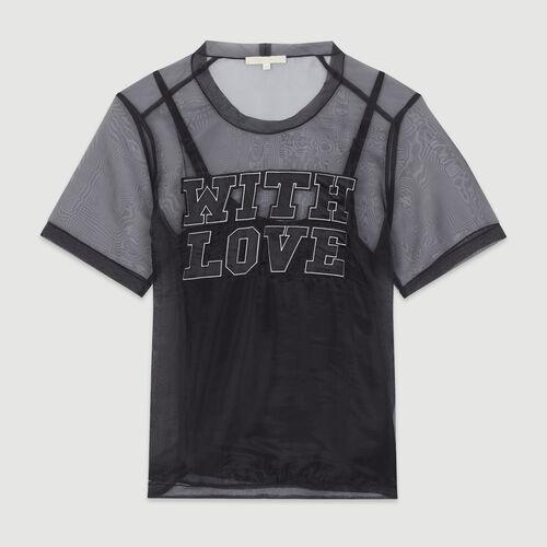 Organza top with slogan : T-Shirts color Black 210