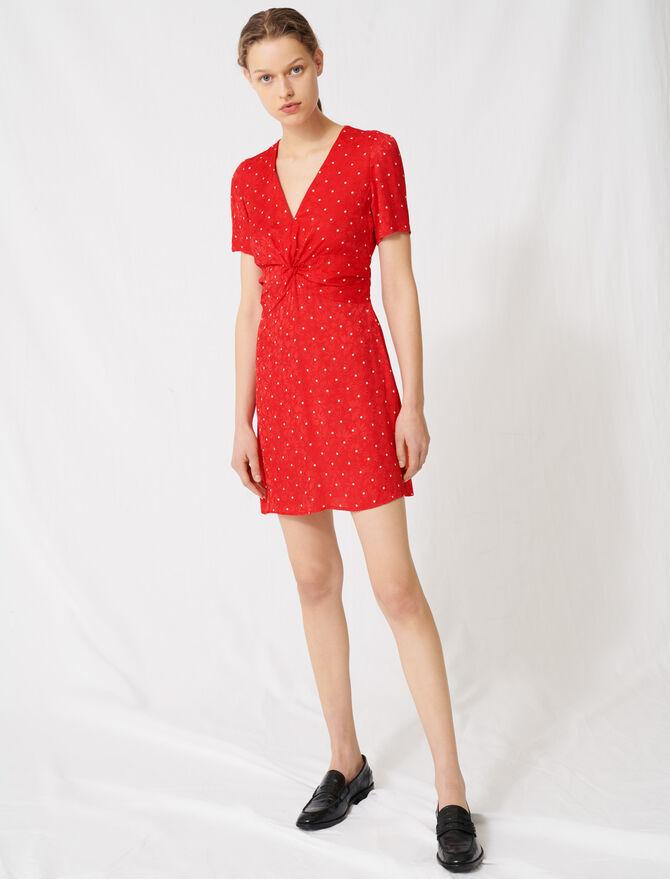 Polka dot jacquard dress - Dresses - MAJE