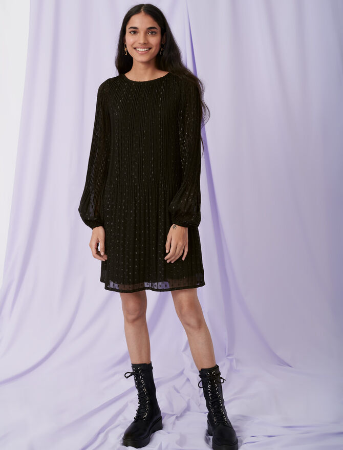Pleat and polka dot dress - Dresses - MAJE