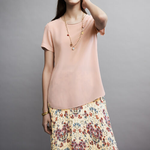 Round neck silk top : Tops color Pale Pink