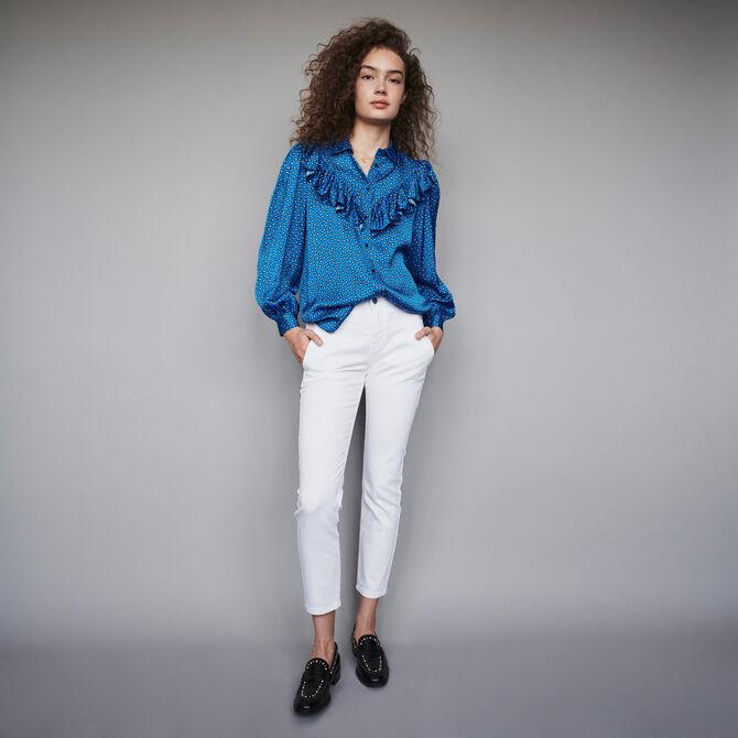 Printed silk ruffled shirt - staff private sale 20 - MAJE