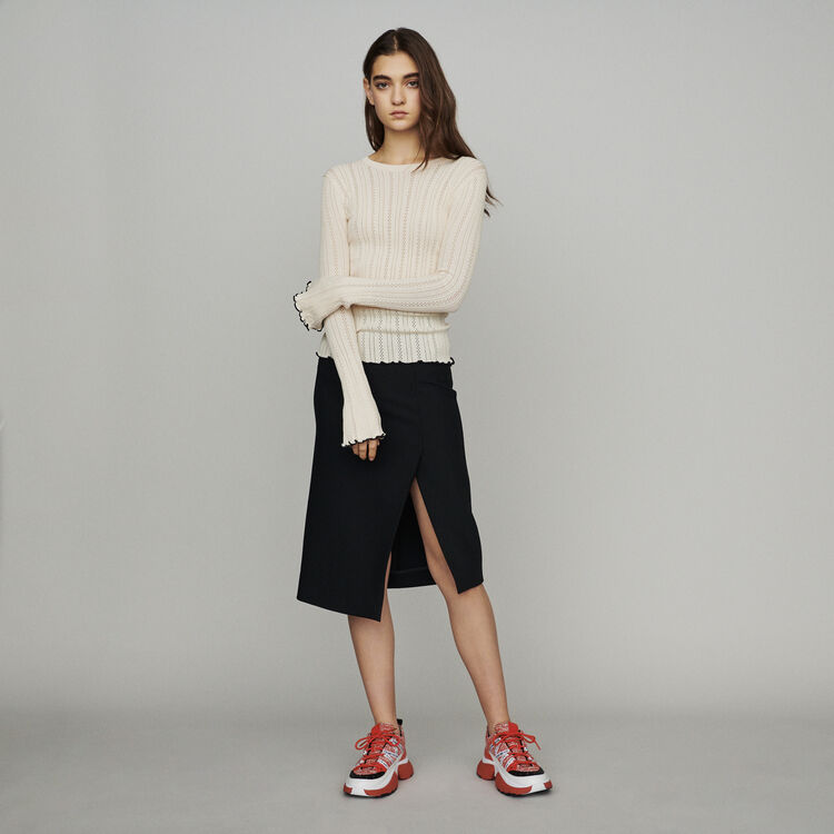 Sweater with pointelle knit : Pullovers & Cardigans color Off White