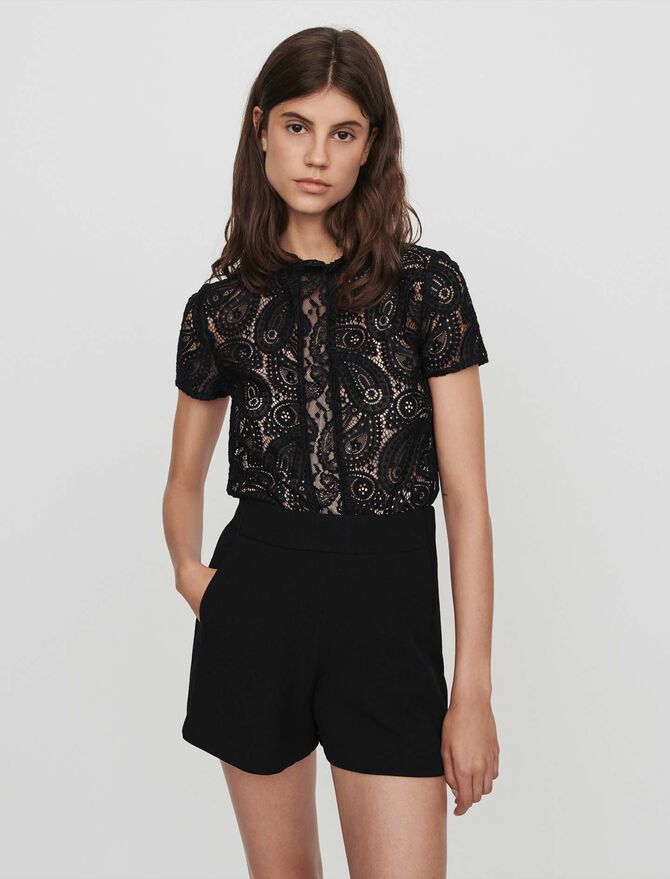Guipure and crepe playsuit - Skirts & Shorts - MAJE