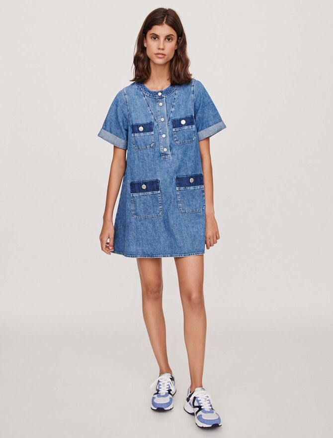 Short jean dress with short sleeves - Dresses - MAJE
