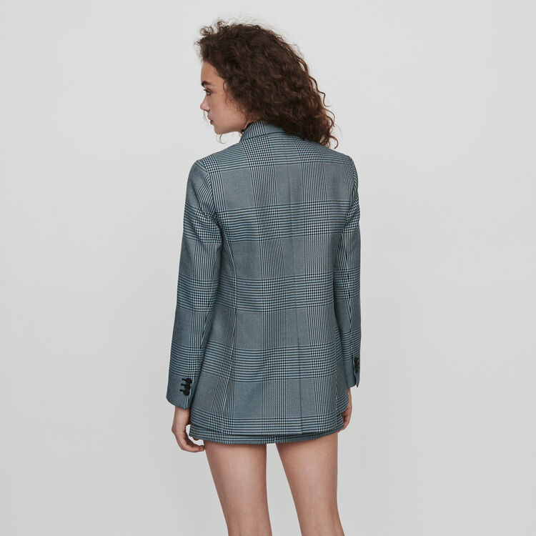 Straight-cut plaid jacket : Blazers color Blue