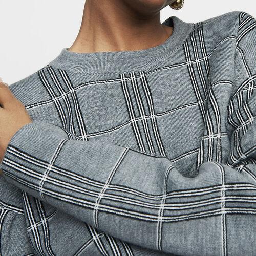 Oversized sweater in jacquard knit : Knitwear color CARREAUX