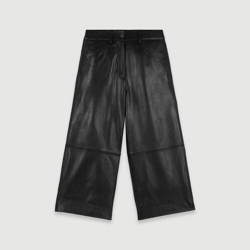 Pantalon façon bermuda en cuir : New_Collection-Hiver couleur Noir