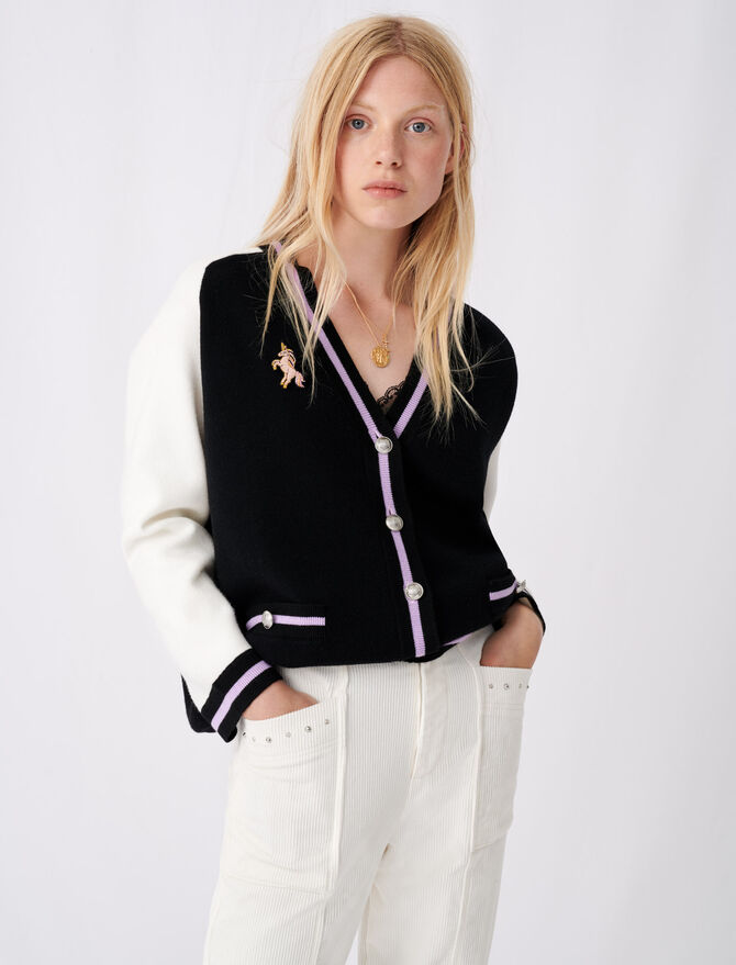 Bicolour college cardigan with patch - Pullovers & Cardigans - MAJE