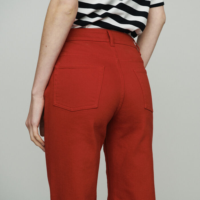 High-waisted wide leg jeans : Jeans color Red