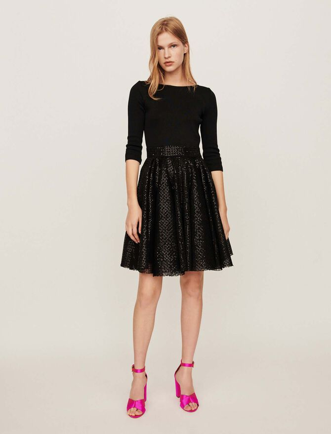 Jersey and strass skater dress - Evening Capsule : Astro Club - MAJE