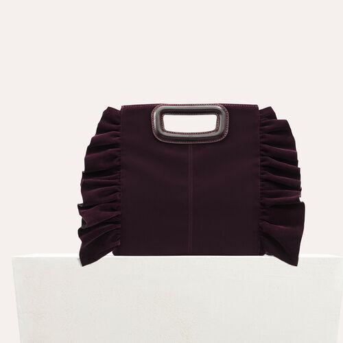 Frilled velvet M bag : M bags color BORDEAUX