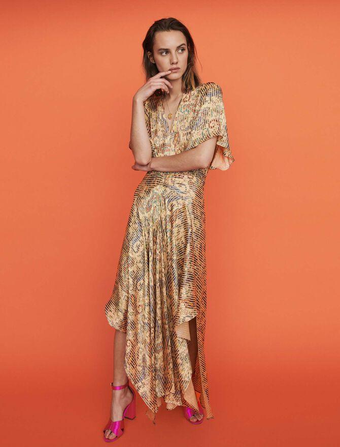 Burn-out-printed scarf smock dress - 70s belong to women - MAJE