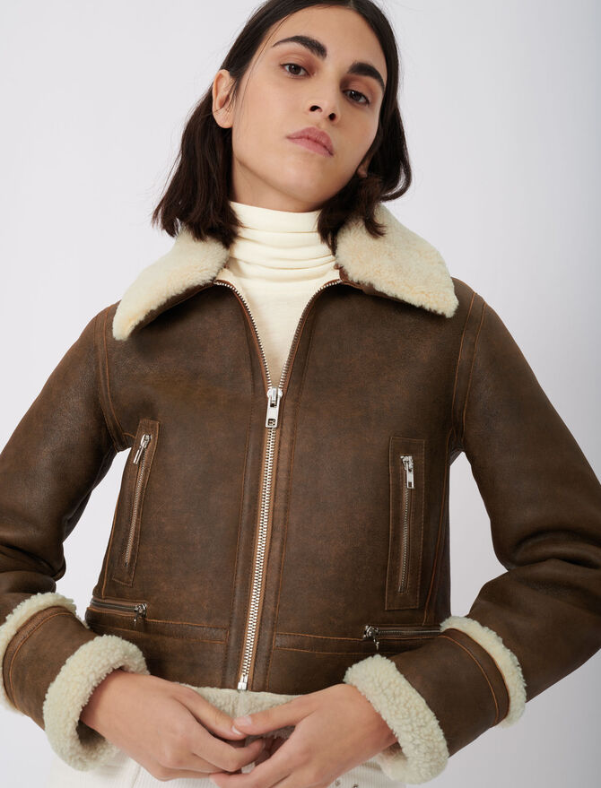 Leather and fur-effect jacket - Eco-friendly - MAJE