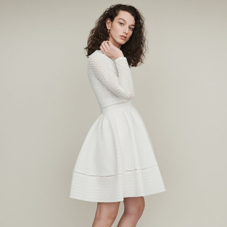 Skater dress in lace : Dresses color White