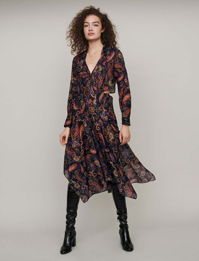 Printed-cotton scarf dress - SoldesBE_Robes - MAJE